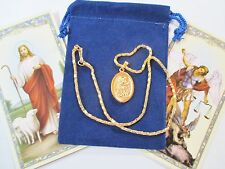 Set of 3 Golden Tone St. Michael & Guardian Angel Saint Medals with Necklaces