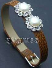 Natural pearl Brown leather watch bracelet-228 Sale Big 8.5-9mm flat round White