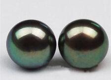 Natural AAA 10-11mm Black Tahitian Pearl Earring