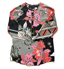 BARBARA BUI black - red -pink floral print silk round neck blouse - size 36