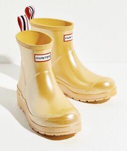 Hunter Original Play Short Nebula Rain Boot Pearlized Sunflower Womens Size 10