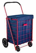 Folding Shopping Cart Liner Rolling Utility Blue Trolley Wheels Basket Hood Bag