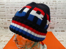 SUPERDRY Fold-Up Beanie Men's Cool TRI LOGO Retro Hat Ribbed Navy Cap BNWT