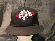 Vintage HANK WILLIAMS JR 80s USA Black Trucker Hat Cap Snapback Country Bocephus