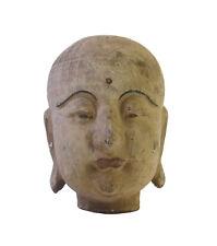 Chinese Rustic Wood Mini Lohon Head Statue cs1687