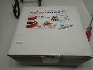 U.S. Cake Supply Complete Cake Decorating Airbrush Kit Compressor 12 Food Colors