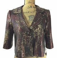 NEW For Wear New York Sm S Jacket Blazer Black Brown Gold Python Dot Swing Work