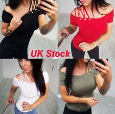 Women UK Off Shoulder Casual Tops Ladies Summer T Shirt Sexy Short Sleeve Blouse
