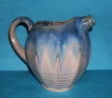Art Pottery - Attractive Multi Facet Design - Grey And Blue Drag Glazed Jug.