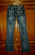 "Almost Famous Sz 1 X 32"" Embroidered/Thick Stitch Flap Pocket Straight Leg Jeans"