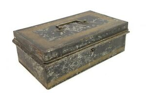 Antique Black Enamel Tin Metal Cash Strong Box Deed Title Stenciled Compartments