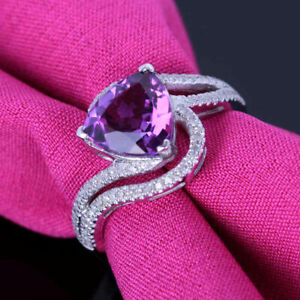 Solid 14K White Gold Amethyst 8x8mm Trillion Diamonds Gemstone Ring Fine Jewelry