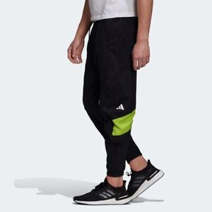 ADIDAS WOVEN TAPPERED PANTS JOGGER BLACK LIME GC9912 NEW MENS SIZE XL