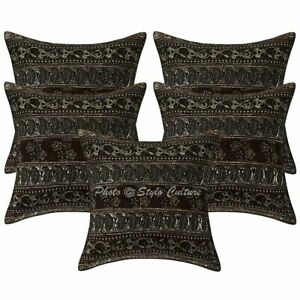 Indian Decorative Sofa Cushion Covers 40 x 40 cm Zari Embroidered Cotton 5 Pc