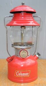 COLEMAN LANTERN RED 200A SINGLE MANTLE DATED 3 - 1959 WITH BOX AND DIRECTIONS