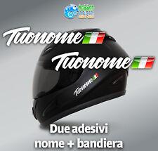 Adesivi Nome e Bandiera casco bicicletta bike moto kart flag sticker bianco