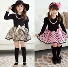 Fashion Baby Girls Princess Long Sleeve Polka Dot Plaid Xmas Party Gown Dress