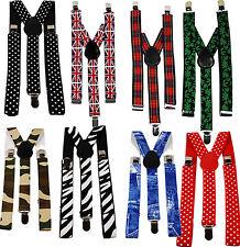 "Adjustable Clip-On 1"" Braces Suspenders Camo Union Jack Polka Dot Leaf Zebra"