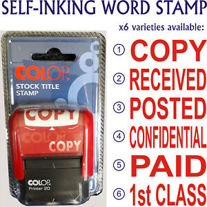 Word Stamp COPY, POSTED, RECEIVED, CONFIDENTIAL, PAID, 1ST CLASS - SELF-INKING