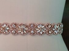 "Wedding Bridal Sash Belt - ROSE GOLD CRYSTAL Wedding SASH BELT= 19"" long"