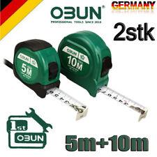 5m + 10m Roll-Maßband mit Einzug Schlaufe Rücklaufsperre Metall Rollmeter