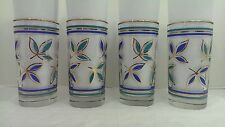 4 Vintage Glass Tumblers 12oz Blue Teal Turquoise Gold Trim Leaf Double Band