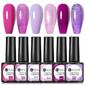 6pcs UR SUGAR Gel Polish Sequins UV LED Soak Off Top Matte Varnish Nail Art Set