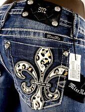 """$118 Buckle Miss Me Jeans """"Leopard Fleur de Lis"""" Boot Cut 29 X 33.5 Dead Stock"""
