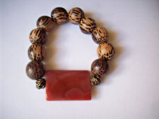 NEW LARGE RECTANGLE RED AGATE & WOOD BEADED BRACELET,  BUY 2 GET 3RD FREE
