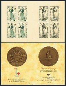 France B374-B375a booklet,MNH. Red Cross-100,1963.Design by Manet,d'Angers