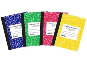 4 Pack - Composition Notebook, 100-Sheet, Assorted Marble Colors Wide Ruled