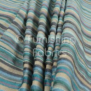 Designer Modern Striped Pattern Velvet Blue Teals Furnishing Upholstery Fabric