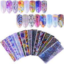 16PCS Holographic Nail Transfer Foil Bubble Stripe Starry Nail Art Glitter Nails
