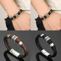 Women Jewelry Bracelet Men Leather Clasp Steel Bangle Magnetic Braided Titanium
