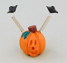 Small Pumpkin w Bats on Springs Halloween Fall Miniatures Resin Pumpkins CUTE