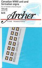 Archer Transfers WW II Canadian Unit & Formation Signs Transfers Decals AR35130