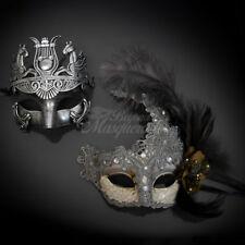 Couple Masquerade Mask Set, Couples Masquerade Venetian Silver, M33169, M7631