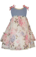 Bonnie Jean Girls Blue Pink Chambray Lace Floral Spring Easter Holiday 4 5 6 6X