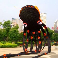 NEW 3D eyes 15m Black 1 Line Stunt Parafoil Octopus POWER Sport Kite outdoor toy