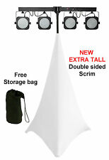 White EXTRA TALL spandex lycra speaker scrim dj tripod stand cover double sided