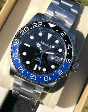 Parnis 40mm Black Dial Sapphire Glass GMT Date Blue Black Batman Automatic Watch