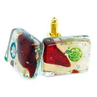 Murano Glass Cufflinks Rectangular Gold Red Green Millefiori Venice Wedding