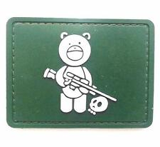 """Sniper Bear"" Logo Paintball Airsoft PVC Velcro Patch (OD Green / White)"