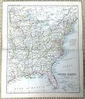 1890 Antique Map of The East Coast United States of America Georgia New York US