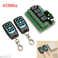 12V 4CH Channel 433Mhz Wireless Remote Control Switch Kits with 2 Transmitter US