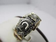 Vintage 14k Solid Gold Diamond Masonic Ring Sz 11 Awesome Gold Smith Workmanship
