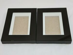 2x 3D Deep Box Glass Black Frame Rectangle Picture Photo Craft Art Medal Display