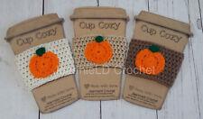 Handmade Crochet Coffee Cup Cozy/Sleeve/Holder Mason Jar Holder - Pumpkin Set