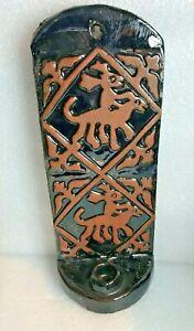 VINTAGE MERCER MORAVIAN Pottery Black Glazed Tile Wall Candle Sconce BUCKS CO