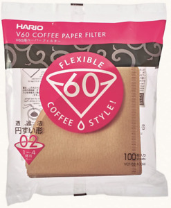 Hario V60 Disposable Paper Coffee Filters Size 02 Natural Tabbed